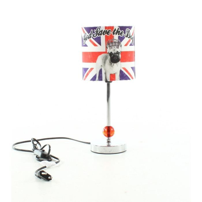 Lampe god save the dog hauteur achat vente for Lampe de bureau london