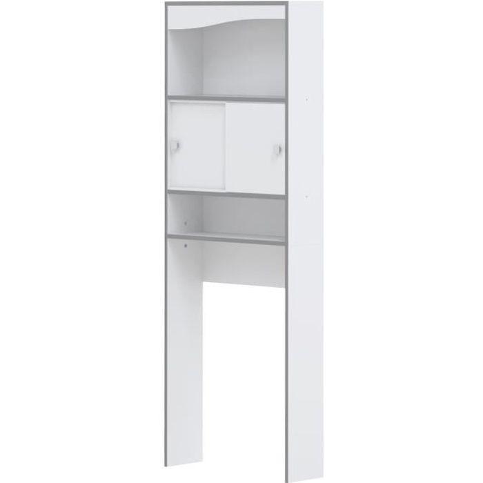 COLONNE - ARMOIRE WC VESSA Meuble WC ou machine à laver L 64 cm - Blanc