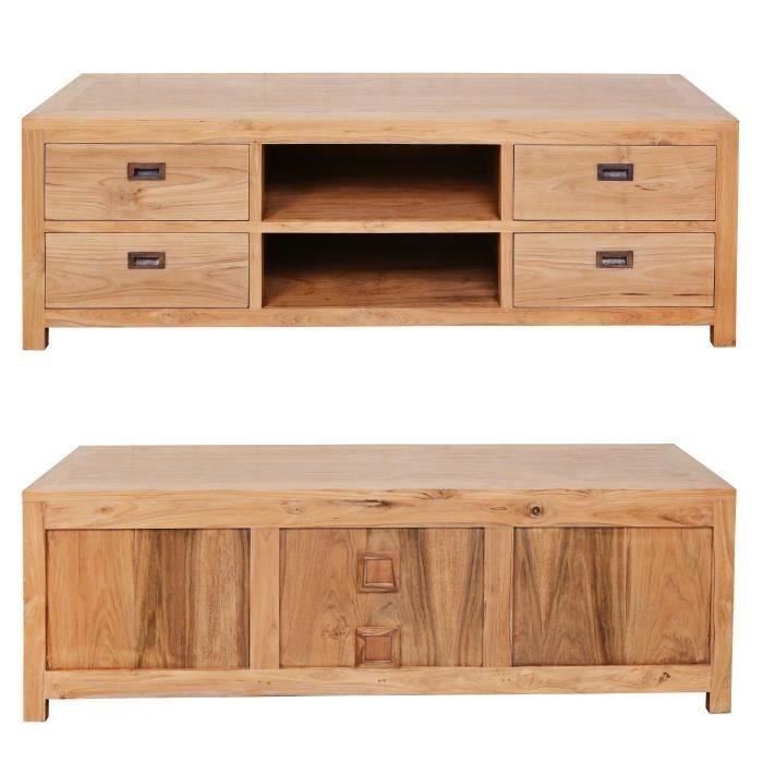ankor meuble tv classique en teck massif bois naturel l 150 cm achat vente meuble tv ankor. Black Bedroom Furniture Sets. Home Design Ideas
