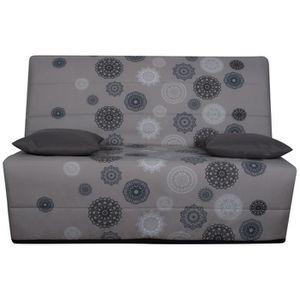LIOM Banquette BZ 3 places - Tissu motif Mandala - Style ethnique - L 142 x P 96 cm