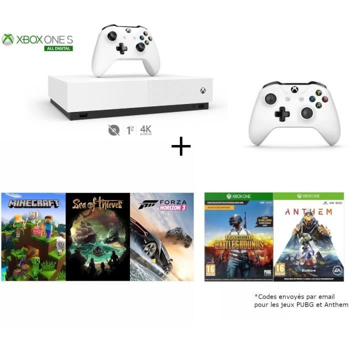 CONSOLE XBOX ONE Xbox One S All Digital + 2e manette + 3 Jeux démat