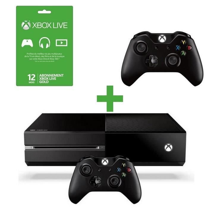 pack console xbox one manette live 12 mois achat. Black Bedroom Furniture Sets. Home Design Ideas