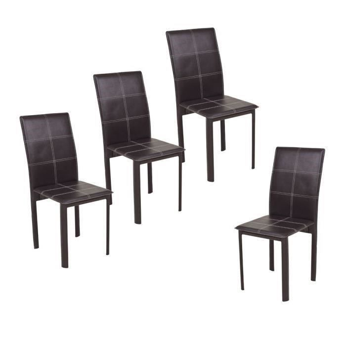 ruby lot de 4 chaises de salle manger en simili marron. Black Bedroom Furniture Sets. Home Design Ideas