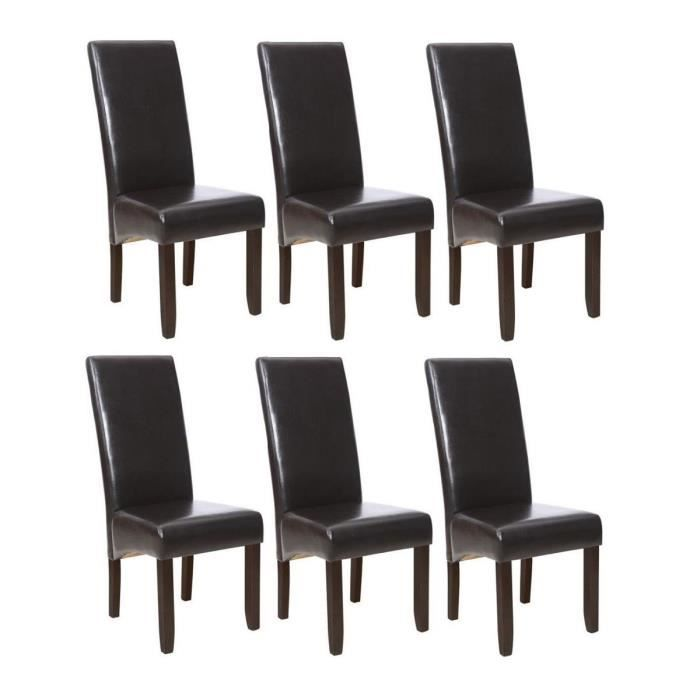 cuba lot de 6 chaises de salle manger marron achat vente chaise cdiscount. Black Bedroom Furniture Sets. Home Design Ideas