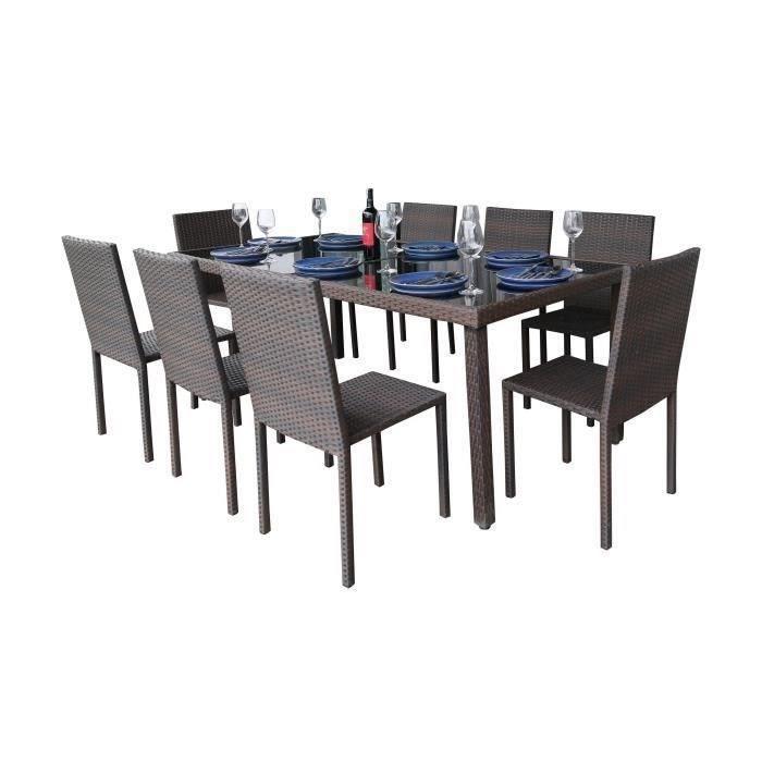 Ensemble table en verre trempé et 8 chaises Cancun en résine tressée - 200  x 100 x 73 cm - Marron
