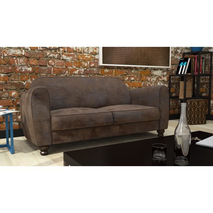 clamm canap club 3 places microfibre vieillie 176x90 cm marron achat vente canap. Black Bedroom Furniture Sets. Home Design Ideas