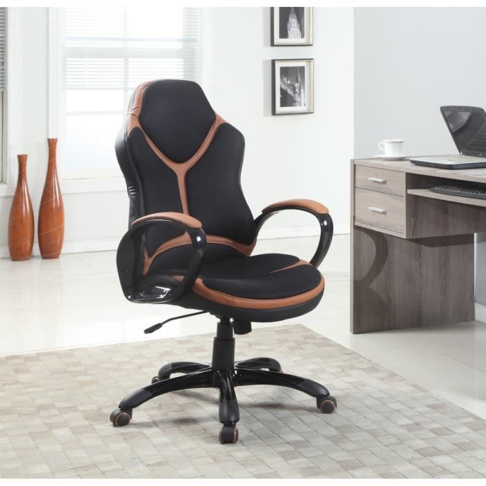 hamilton fauteuil de bureau pivotant r glable noir marron. Black Bedroom Furniture Sets. Home Design Ideas