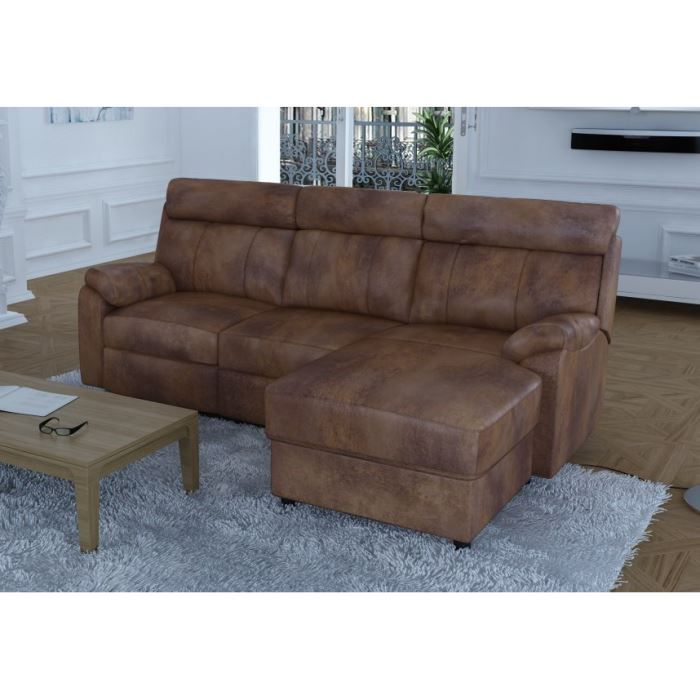 modena canap microfibre effet vieilli marron achat vente canap sofa divan rev tement. Black Bedroom Furniture Sets. Home Design Ideas