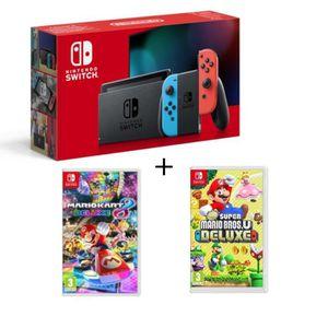 CONSOLE NINTENDO SWITCH Pack Nintendo Switch Néon + New Super Mario Bros U