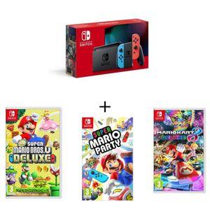 CONSOLE NINTENDO SWITCH Pack Nintendo Switch Néon+New Super Mario Bros U D
