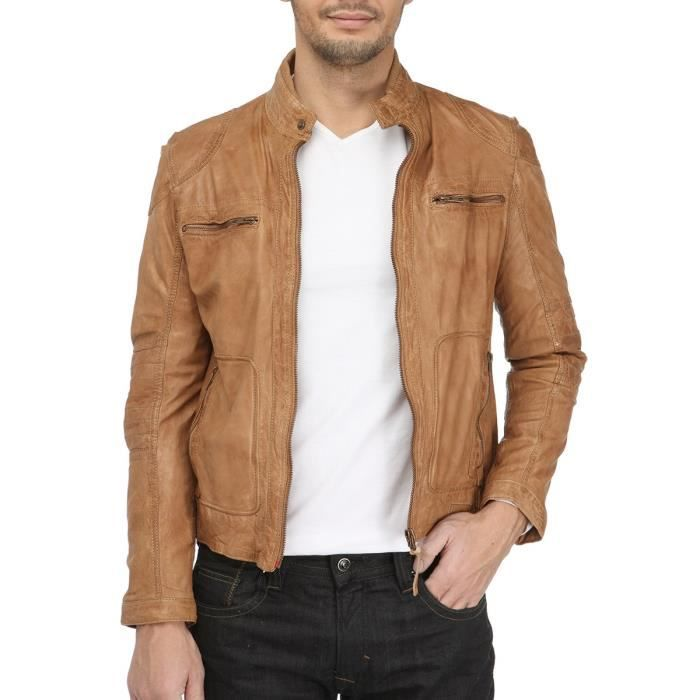 vetements cuir blouson cuir homme camel. Black Bedroom Furniture Sets. Home Design Ideas