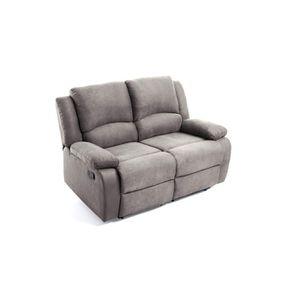 CANAPÉ - SOFA - DIVAN RELAX Canapé de relaxation 2 places - Tissu gris -