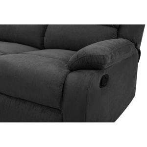 CANAPÉ - SOFA - DIVAN RELAX Canapé de relaxation 2 places - Tissu noir -