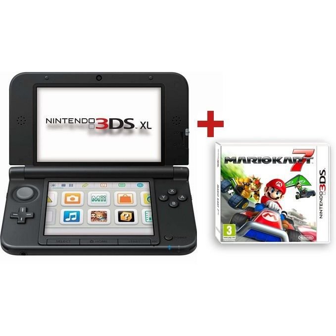 console 3ds xl argent noir mario kart 7 3d achat vente console ds lite dsi 3ds xl argent. Black Bedroom Furniture Sets. Home Design Ideas