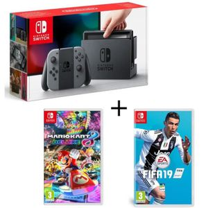 CONSOLE NINTENDO SWITCH Pack Nintendo Switch Grise + Fifa 19 + Mario Kart