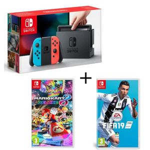 CONSOLE NINTENDO SWITCH Pack Nintendo Switch Néon + Fifa 19 + Mario Kart 8