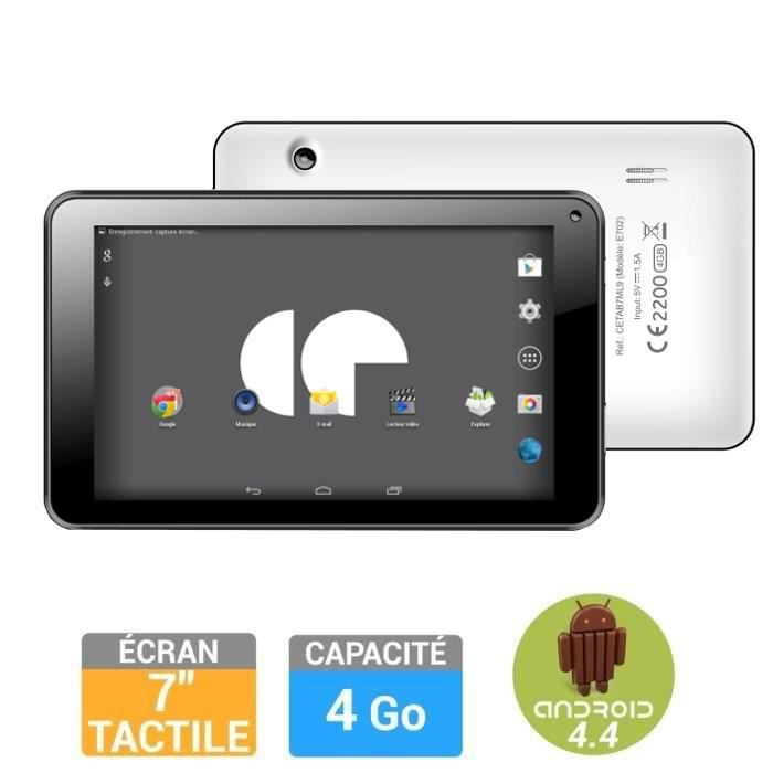 Continental edison tablette 7 4go blanche achat vente - Tablette tactile avec port usb ...