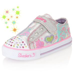 skechers baskets b b fille argent rose et vert achat vente basket cdiscount. Black Bedroom Furniture Sets. Home Design Ideas