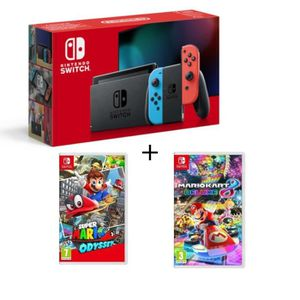 CONSOLE NINTENDO SWITCH Pack Nintendo Switch avec paire de Joy-Con néon+Su
