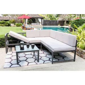 SALON DE JARDIN  NIMOS Salon de jardin en aluminium 5 places - Gris