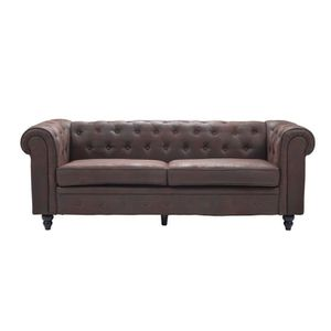 CANAPÉ - SOFA - DIVAN EDGAR Canapé Chesterfield droit fixe 3 places - Ti