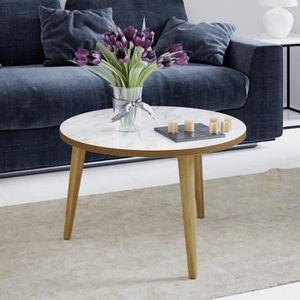 BOUT DE CANAPÉ ROCK Table basse ronde scandinave effet marbre - Ø