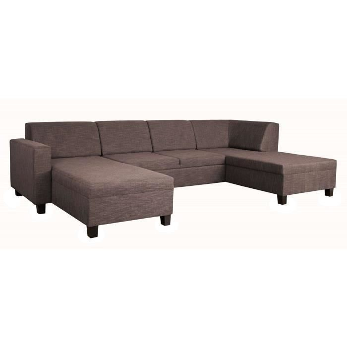 madrid canap convertible lit angle r versible 5 places marron achat vente canap sofa. Black Bedroom Furniture Sets. Home Design Ideas