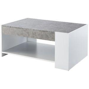 TABLE BASSE IAN Table basse style contemporain blanc et décor
