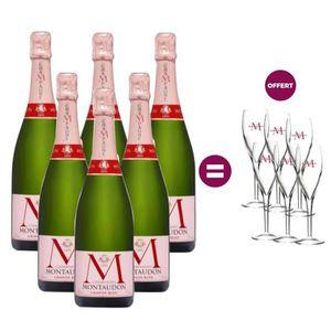 CHAMPAGNE 6 Champagnes Montaudon Grande Rose = 6 flûtes offe