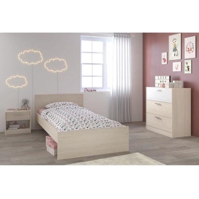 CHARLEMAGNE Chambre enfant complète style contemporain décor acacia clair  et blanc mat - l 90 x L 190 cm