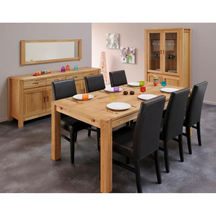 Nathan table manger extensible en ch ne massif 6 8 for Table chene massif extensible