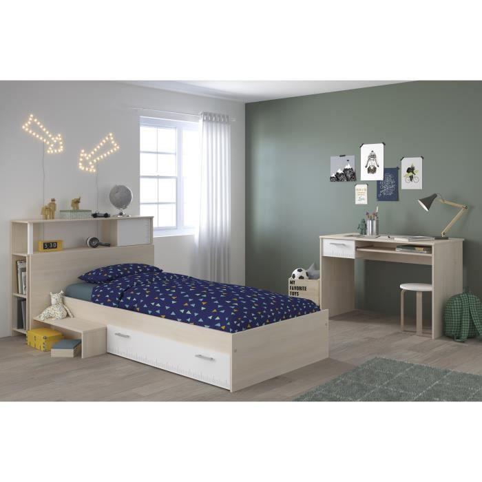CHARLEMAGNE Chambre enfant complète Tête de lit + lit + bureau - Style  contemporain - Décor acacia clair et blanc