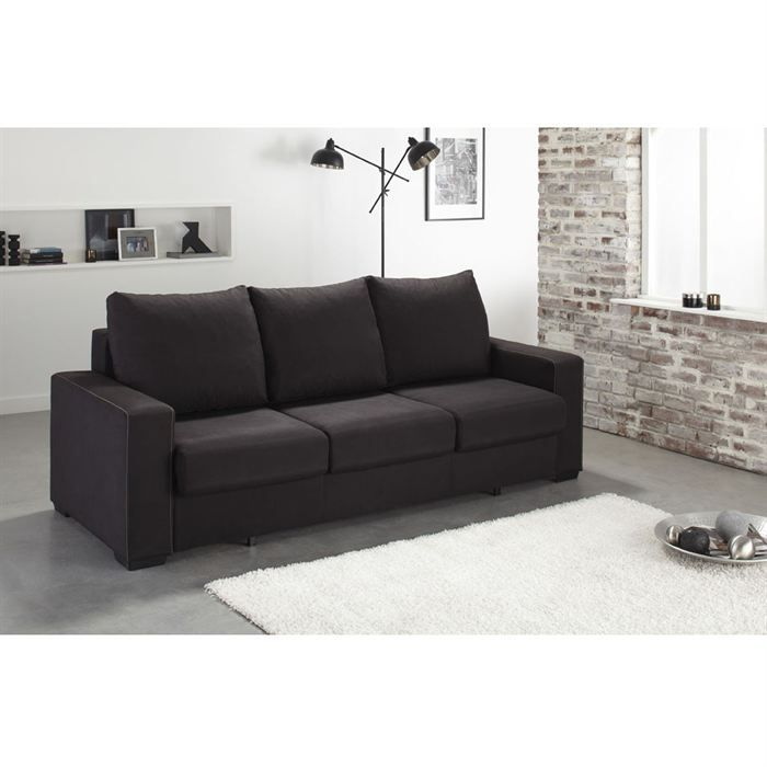 sydney canap convertible 3 places avec coffre tissu noir achat vente canap sofa. Black Bedroom Furniture Sets. Home Design Ideas