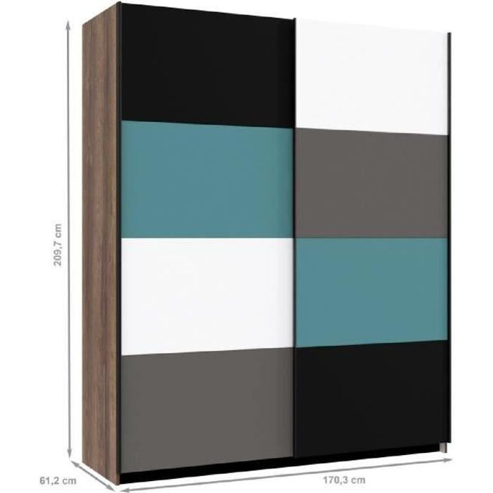 raven armoire de chambre contemporain multicolore l 170 cm achat vente armoire de chambre. Black Bedroom Furniture Sets. Home Design Ideas