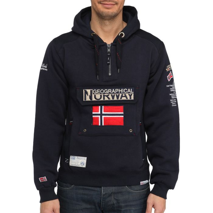geographical norway sweat capuche marine achat vente sweatshirt cdiscount. Black Bedroom Furniture Sets. Home Design Ideas