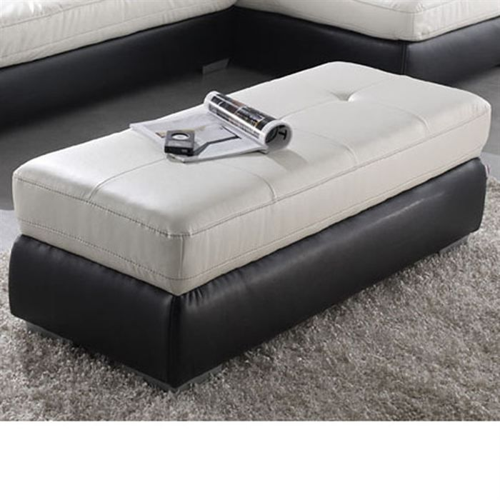 calgary grand pouf droit 2 places pu noir blanc moncornerdeco. Black Bedroom Furniture Sets. Home Design Ideas