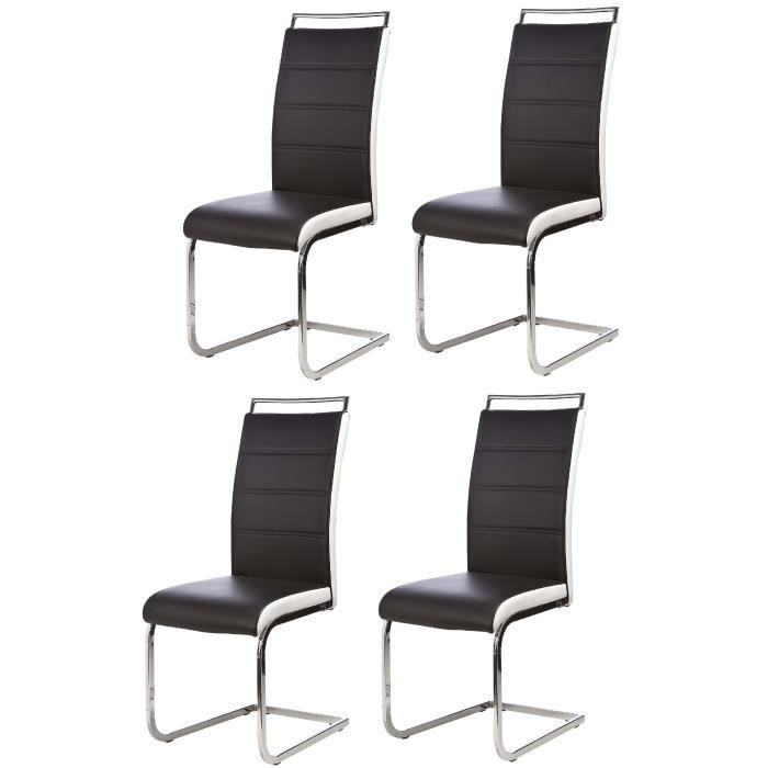 Dylan lot de 4 chaises salon noir blanc achat vente for Chaise noir blanc