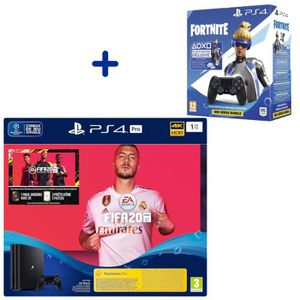 CONSOLE PS4 Pack Console PS4 Pro 1To Noire + Fifa 20 + Manette