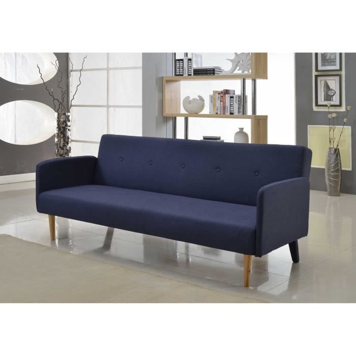 copenhague banquette clic clac tissu 3 places 190x84 x78 cm bleu achat vente banquette. Black Bedroom Furniture Sets. Home Design Ideas