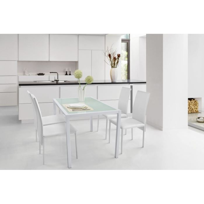 Caroline table rectangulaire 100x70cm blanche achat vente table de cuisin - Table de cuisine moderne en verre ...