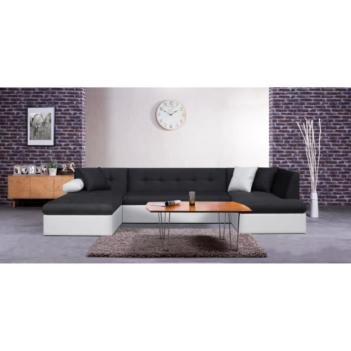 Canap convertible simili et tissu 7 places 330x77x175 cm moncornerdeco - Canape convertible simili ...