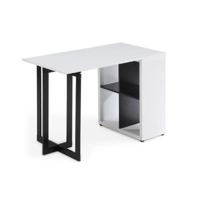 kilian bureau contemporain blanc et noirs l 110 cm achat vente bureau kilian bureau bois. Black Bedroom Furniture Sets. Home Design Ideas