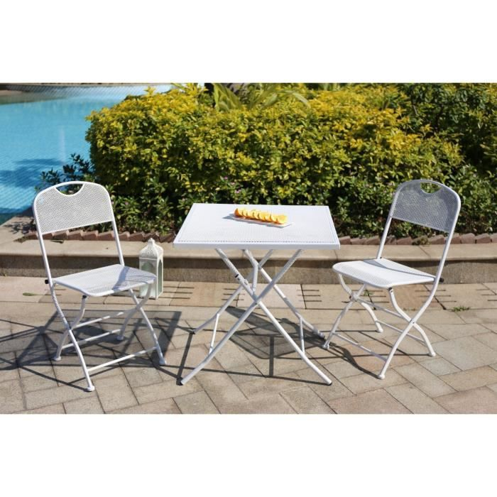 finlandek mukava ensemble table de jardin 2 chaises acier blanc achat vente salon de. Black Bedroom Furniture Sets. Home Design Ideas