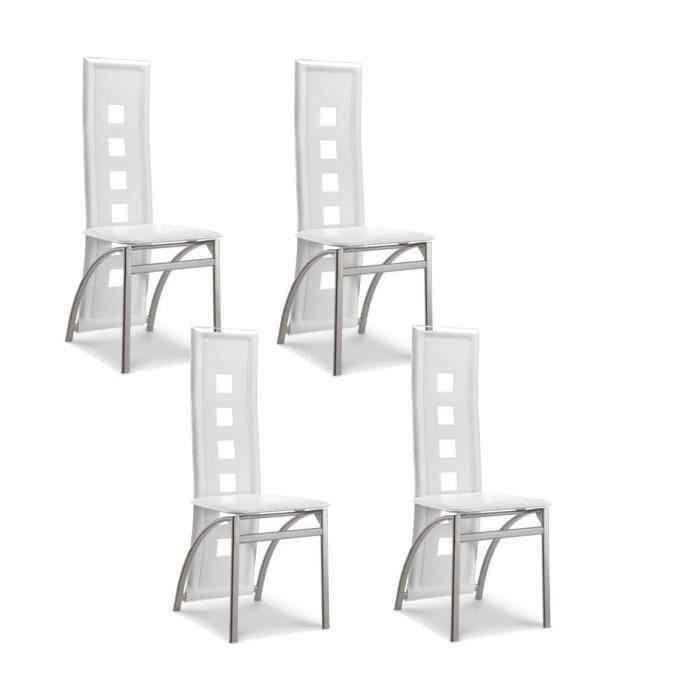 eiffel lot de 4 chaises de salle manger blanches simili et aluminium design achat vente. Black Bedroom Furniture Sets. Home Design Ideas