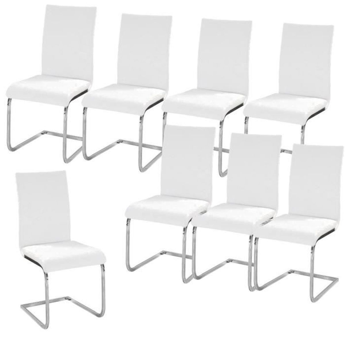 lea lot de 8 chaises de salle manger blanches achat. Black Bedroom Furniture Sets. Home Design Ideas
