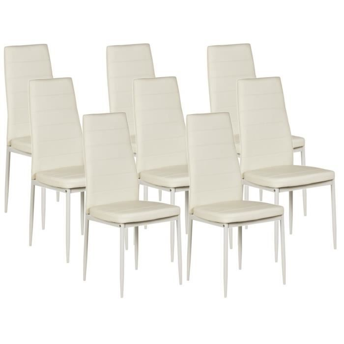 vogue lot de 8 chaises de salle manger blanches achat. Black Bedroom Furniture Sets. Home Design Ideas
