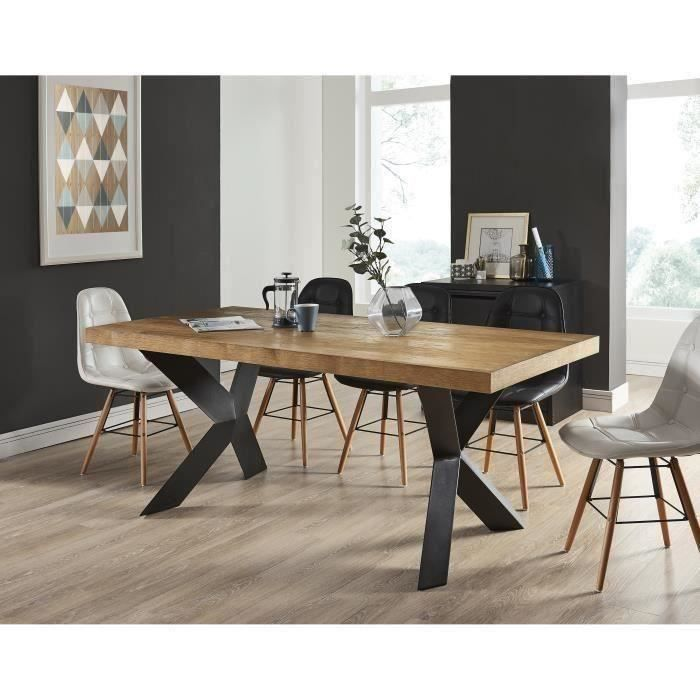 platon table manger de 6 8 personnes style industriel placage bois ch ne pieds m tal laqu. Black Bedroom Furniture Sets. Home Design Ideas