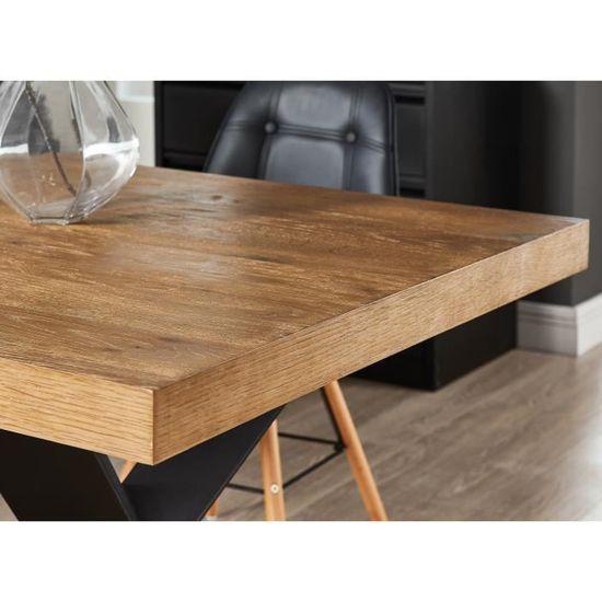 bois x cm 8 de 6 noir l laqué Table placage chênepieds à à personnes PLATON métal industriel 90 180 L manger style Ib6vYygf7