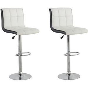 TABOURET DE BAR JOKER Lot de 2 tabourets de bar - Simili blanc et