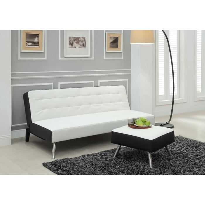 samba banquette convertible lit pouf 3 places simili blanc c t noir achat vente clic clac. Black Bedroom Furniture Sets. Home Design Ideas